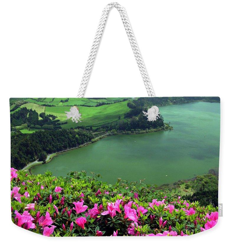 Azaleas Weekender Tote Bag featuring the photograph Furnas Lake Azores by Gaspar Avila
