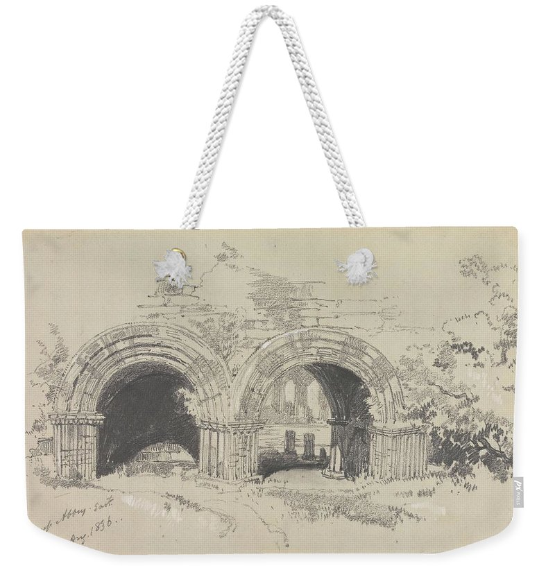 Art Weekender Tote Bag featuring the painting Furness Abbey East 29 August 1836 By Edward Lear 1836 by Edward Lear