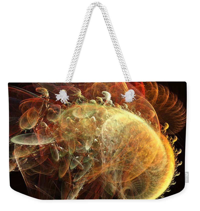 Sea Shell Weekender Tote Bag featuring the digital art Furry Sea Shells by Ron Bissett