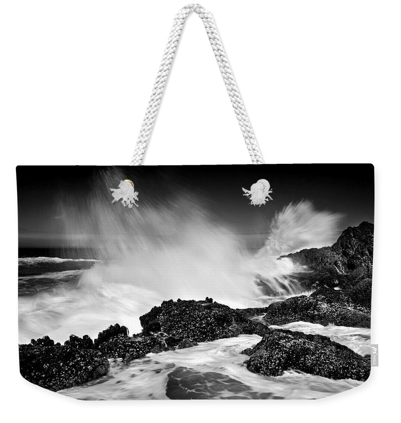 Waves Weekender Tote Bag featuring the photograph Fury by Mike Dawson