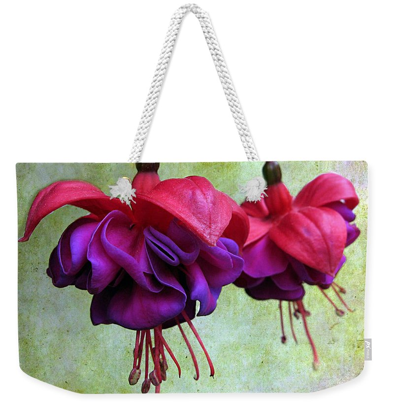 Flowers Weekender Tote Bag featuring the photograph Fuschia by Jessica Jenney