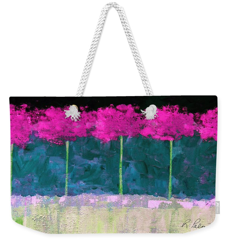 Abstract Weekender Tote Bag featuring the painting Fuschia Trees by Ruth Palmer