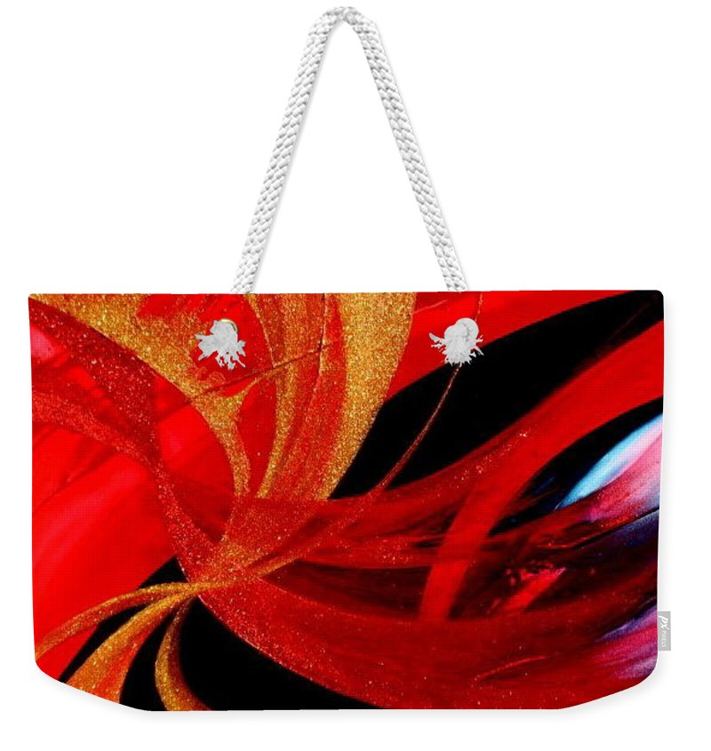 Weekender Tote Bag featuring the painting Fusion by Kumiko Mayer