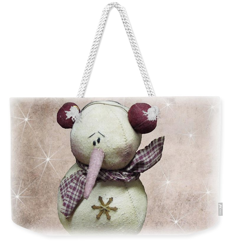 Snowman Weekender Tote Bag featuring the photograph Fuzzy The Snowman by David Dehner