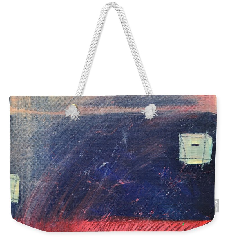 Red Weekender Tote Bag featuring the painting Fyr Bal by Tim Nyberg