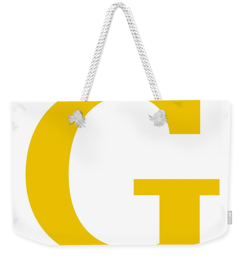 G Weekender Tote Bag featuring the digital art G In Mustard Typewriter Style by Custom Home Fashions