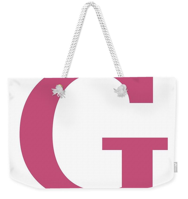 G Weekender Tote Bag featuring the digital art G In Pink Typewriter Style by Custom Home Fashions