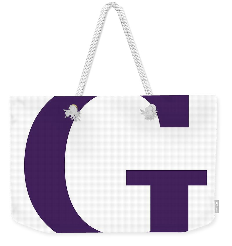 G Weekender Tote Bag featuring the digital art G In Purple Typewriter Style by Custom Home Fashions
