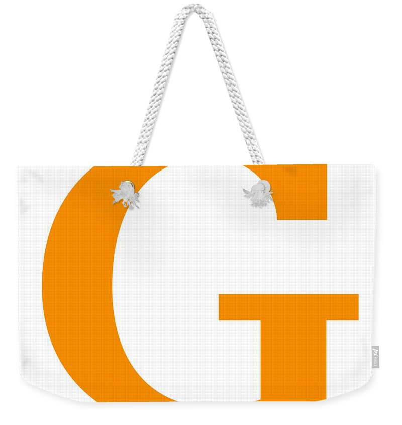 G Weekender Tote Bag featuring the digital art G In Tangerine Typewriter Style by Custom Home Fashions