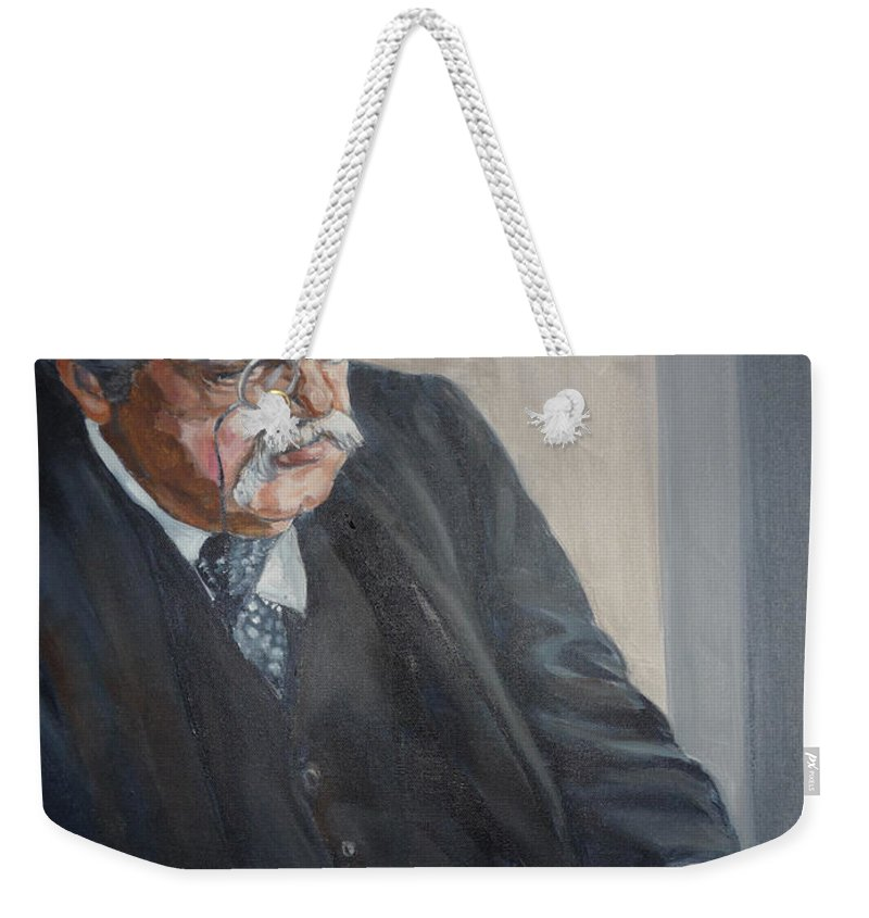 Chesterton Author Catholic Weekender Tote Bag featuring the painting G K Chesterton by Bryan Bustard