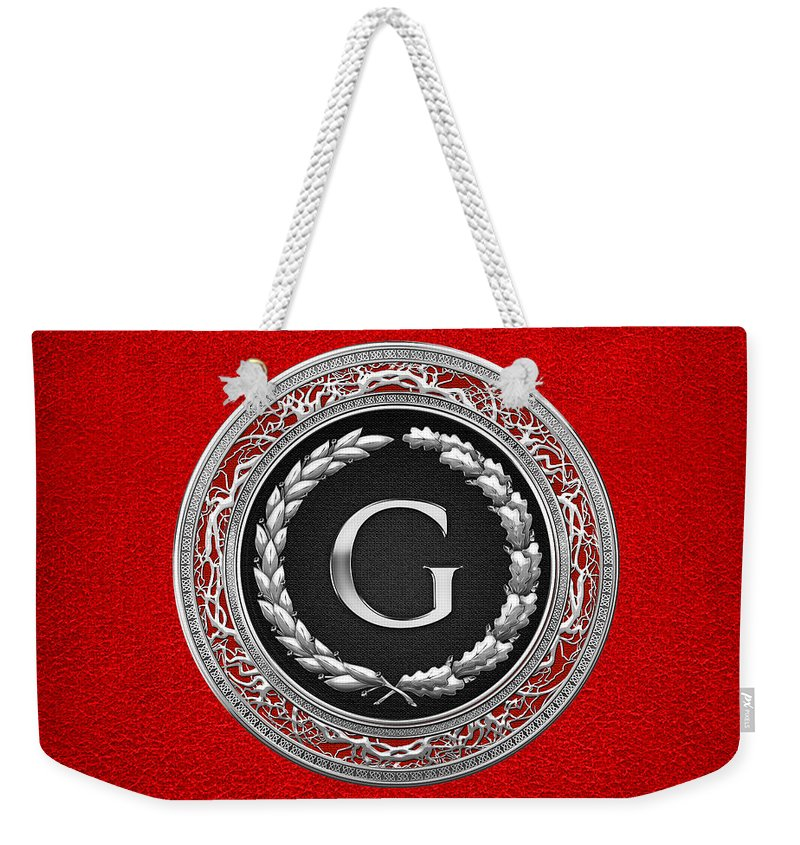 'vintage Monograms 3d' Collection Serge Averbukh Weekender Tote Bag featuring the digital art G - Silver Vintage Monogram On Red Leather by Serge Averbukh