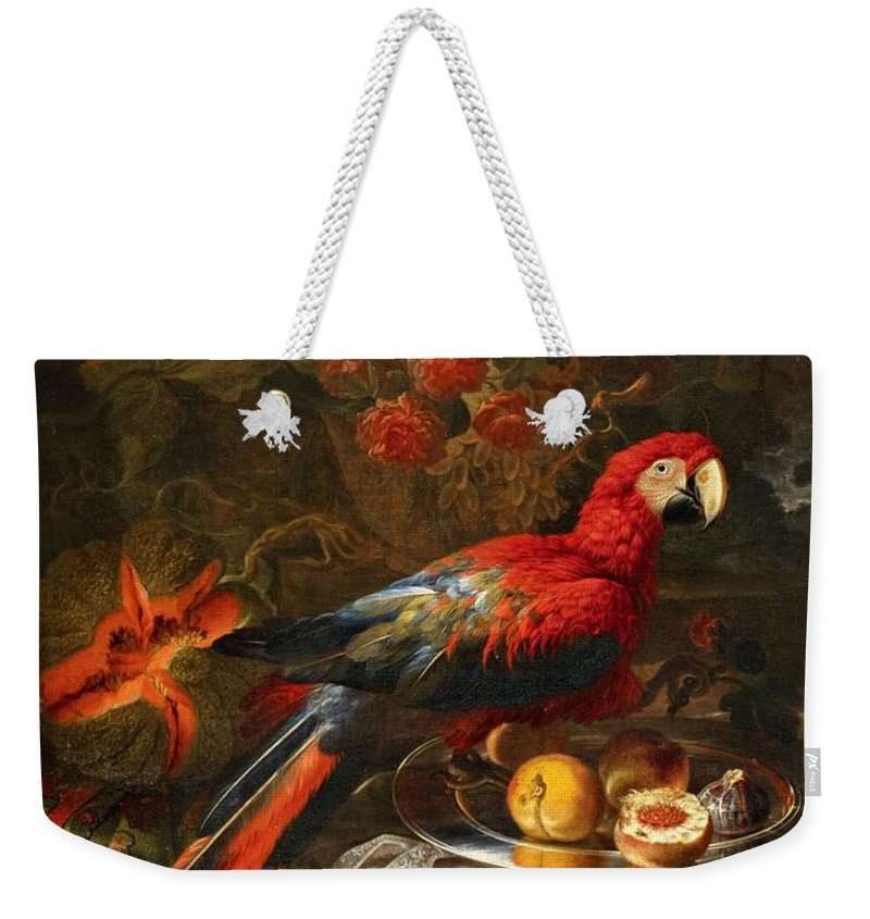 Art Weekender Tote Bag featuring the painting Gabriello Salci Fruit Still Life With A Parrot by Gabriello Salci