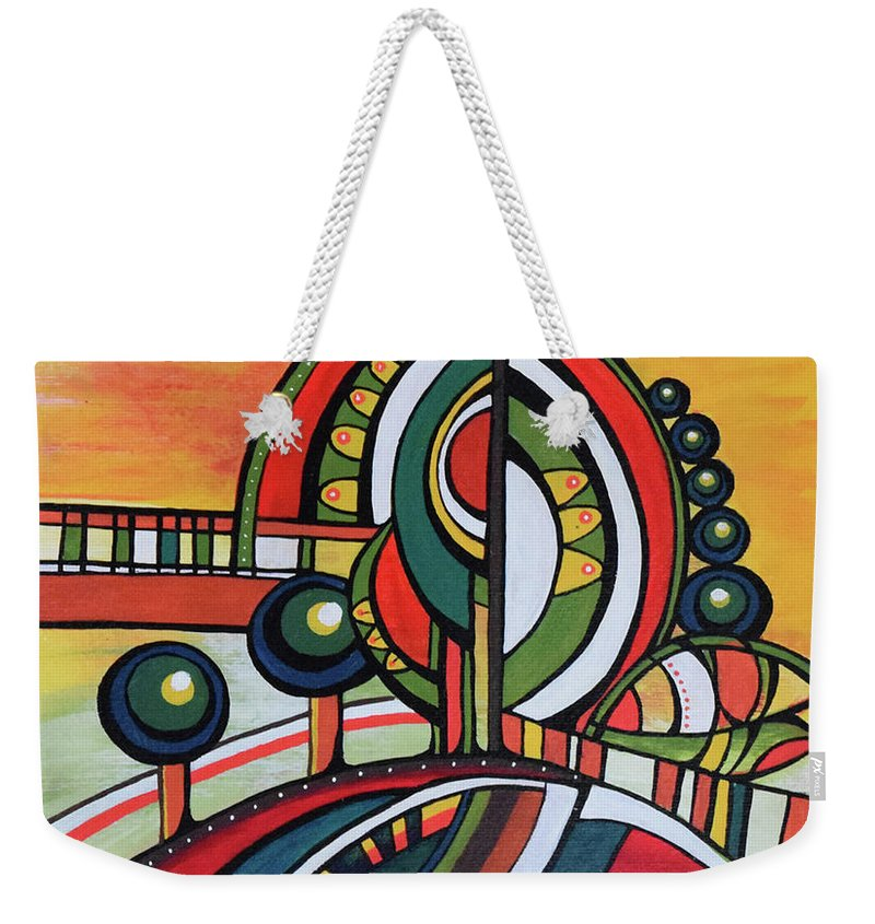 Original Painting Weekender Tote Bag featuring the painting Gaia's Dream by Aniko Hencz