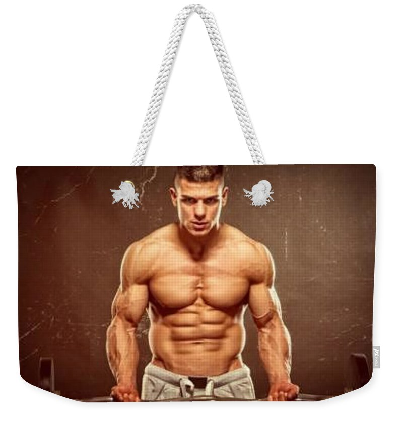 Weekender Tote Bag featuring the drawing Gain Xt With Virilax by Walter Meoff