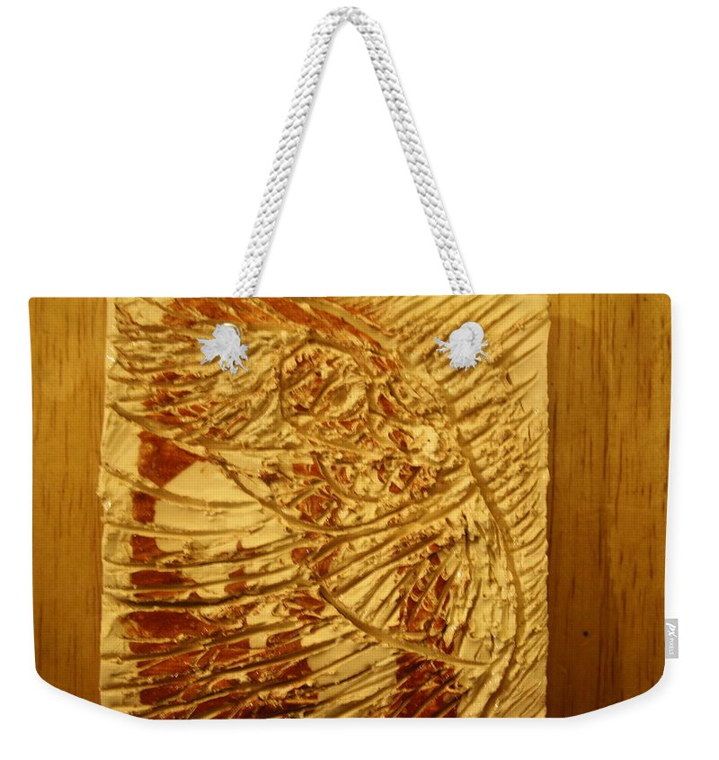 Jesus Weekender Tote Bag featuring the ceramic art Gal- Tile by Gloria Ssali