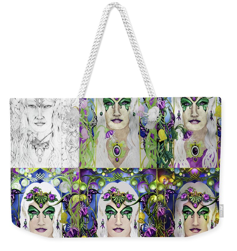 Tolkien Weekender Tote Bag featuring the mixed media Galadriel Progression by Curtiss Shaffer