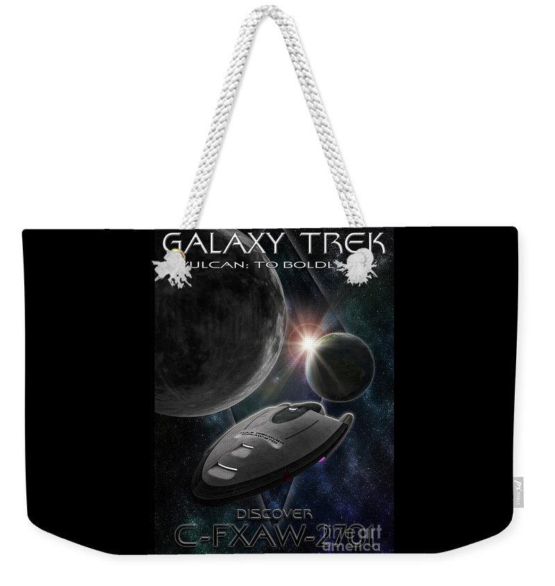 Alberta Weekender Tote Bag featuring the photograph Galaxy Trek Vulcan To Boldly Go Poster Starship by Brad Allen Fine Art