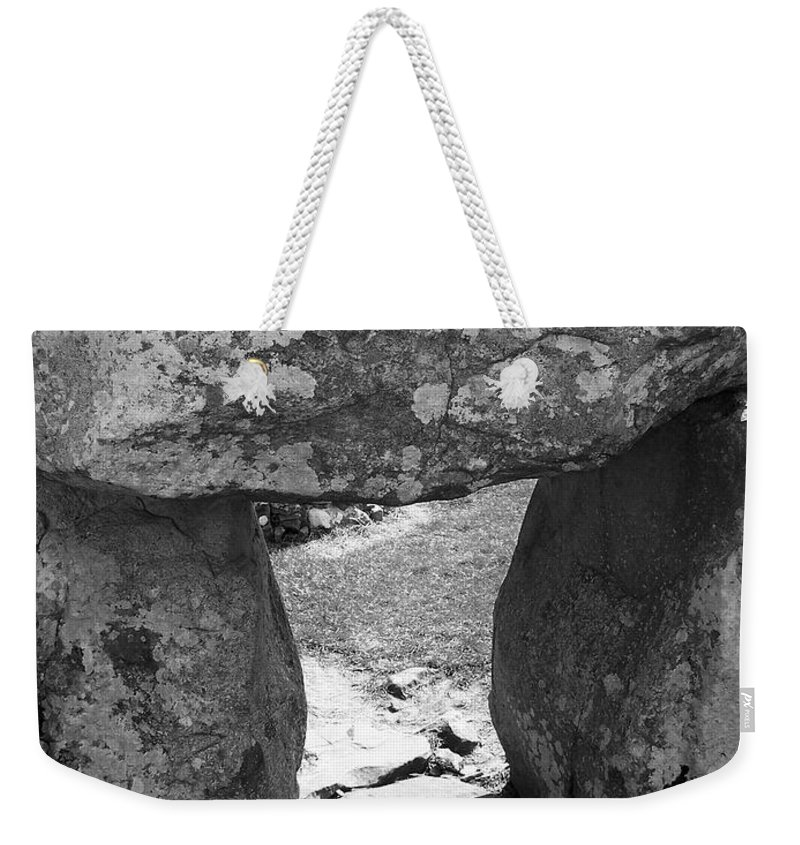 Ireland Weekender Tote Bag featuring the photograph Gallery Entrance At Creevykeel Court Cairn Ireland by Teresa Mucha