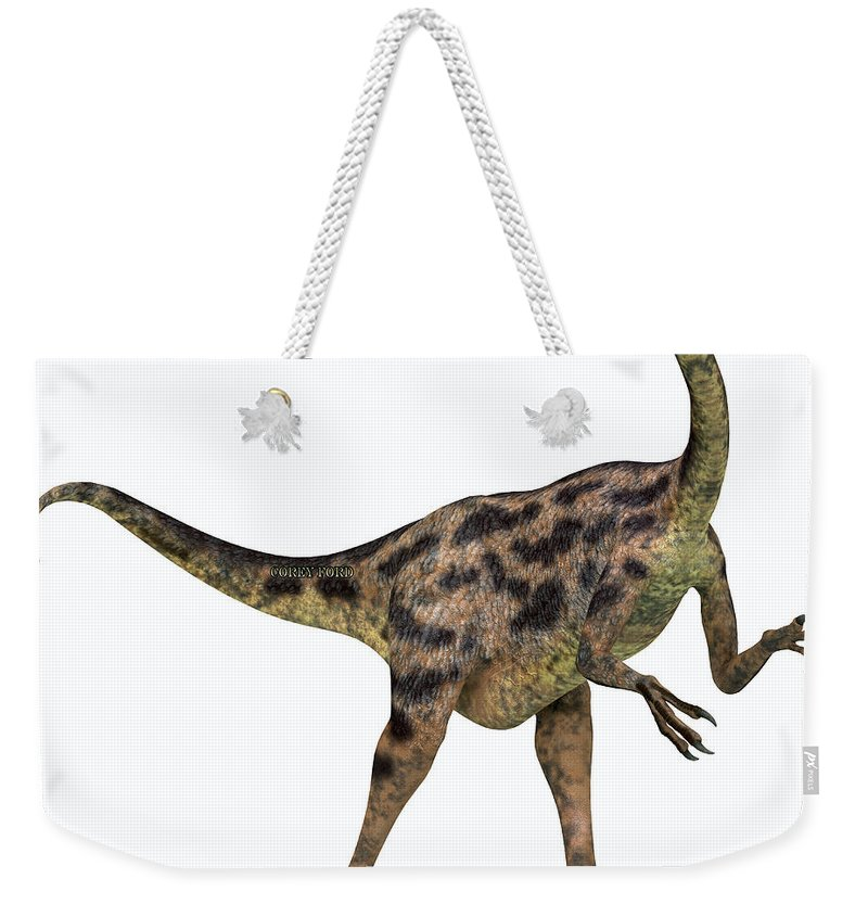 Gallimimus Weekender Tote Bag featuring the painting Gallimimus On White by Corey Ford