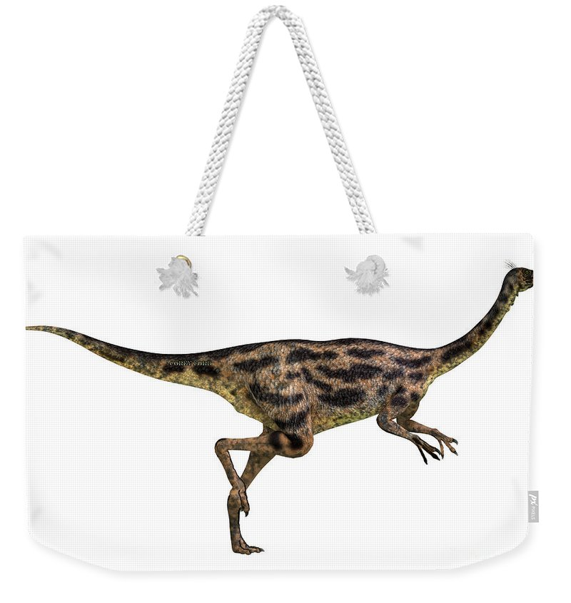 Gallimimus Weekender Tote Bag featuring the painting Gallimimus Profile by Corey Ford