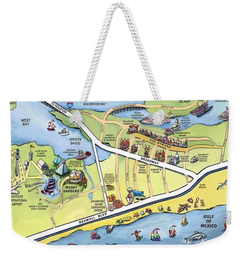 Galveston Weekender Tote Bag featuring the digital art Galveston Texas Cartoon Map by Kevin Middleton