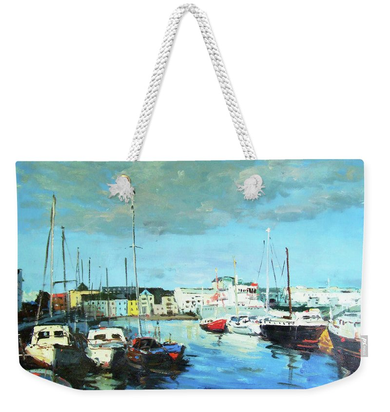 Galway Weekender Tote Bag featuring the painting Galway Docks by Conor McGuire
