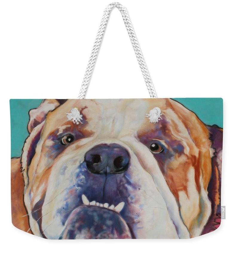 Pat Saunders-white Pet Portraits Weekender Tote Bag featuring the painting Game Face  by Pat Saunders-White
