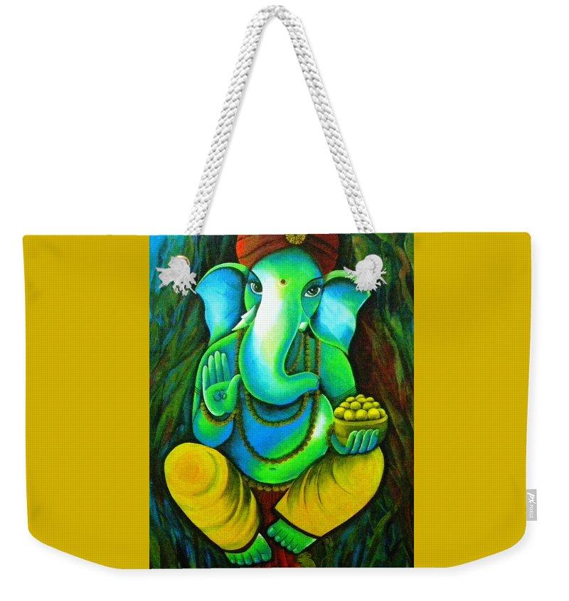 Lord Ganesh Weekender Tote Bag featuring the painting Ganesh In Garden by Rupa Prakash