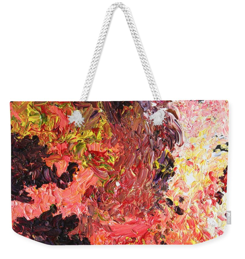 Fusionart Weekender Tote Bag featuring the painting Ganesh In The Garden by Ralph White