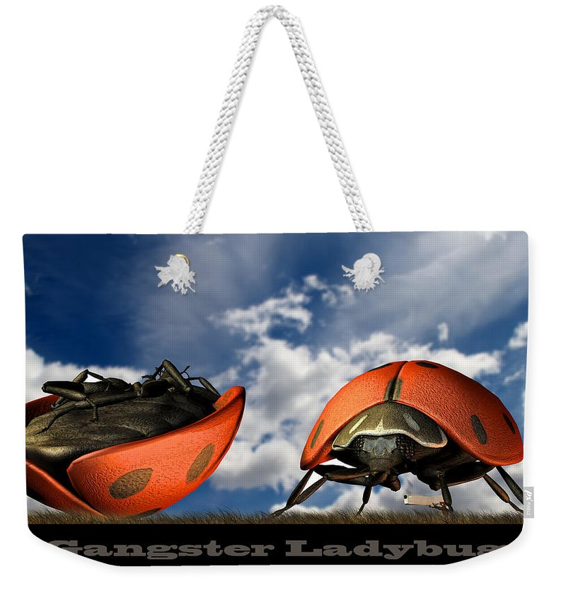 Ladybug Weekender Tote Bag featuring the digital art Gangster Ladybugs Nature Gone Mad by Bob Orsillo