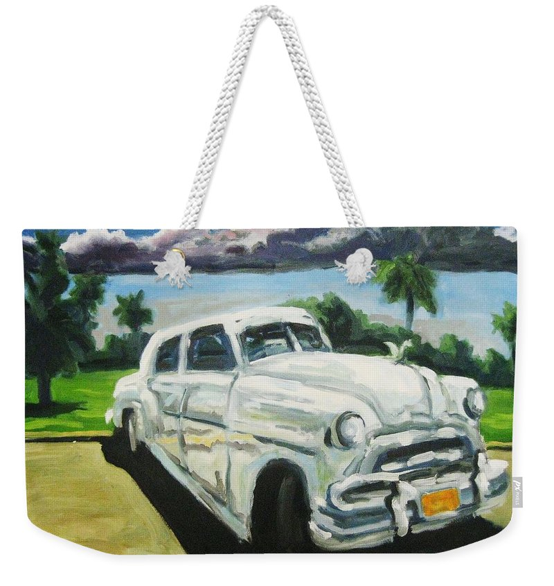 Old Cars Weekender Tote Bag featuring the painting Gangsters On Vacation by John Malone