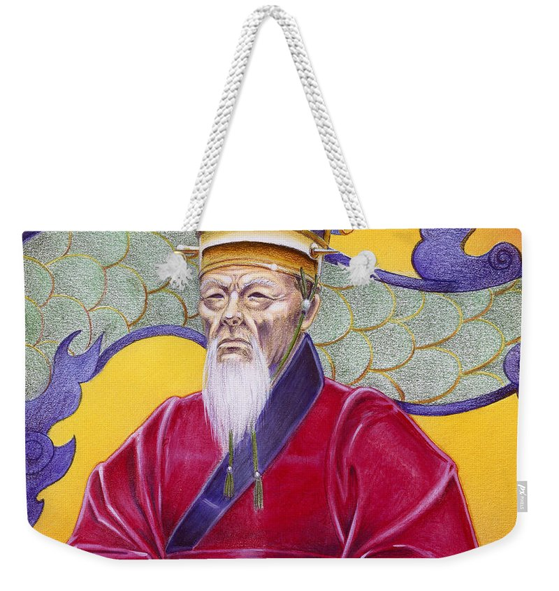 Oriental Weekender Tote Bag featuring the painting Gao Zhang by Melissa A Benson