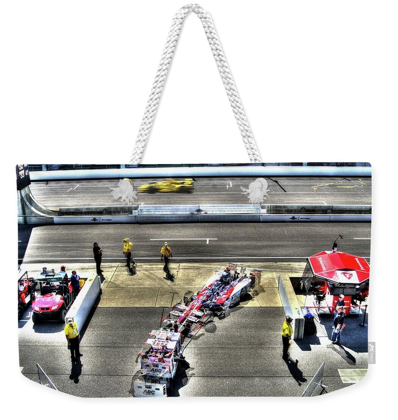 Gasoline Alley Weekender Tote Bag featuring the photograph Garage Bound by Josh Williams