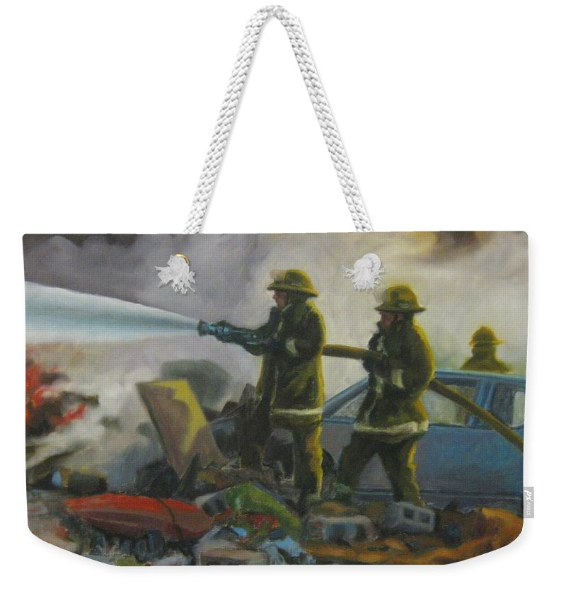Firefighters Weekender Tote Bag featuring the painting Garage Fire by John Malone