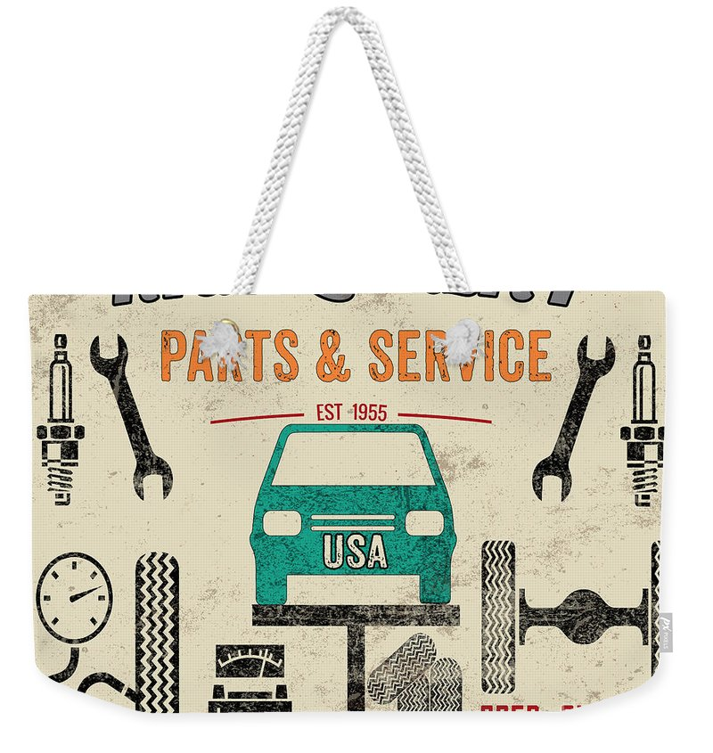 Jean Plout Weekender Tote Bag featuring the painting Garage Special-jp3483 by Jean Plout