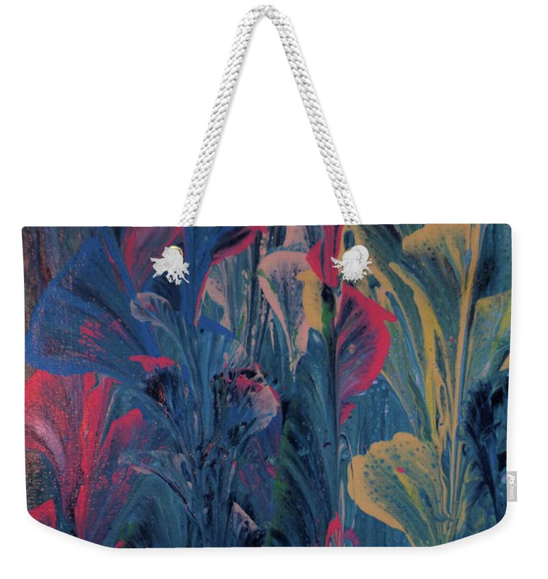 Acrylic Weekender Tote Bag featuring the painting Garden At Dusk by Diana Robbins