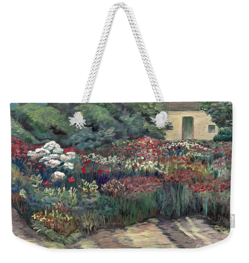 Breck Weekender Tote Bag featuring the painting Garden at Giverny by Nadine Rippelmeyer