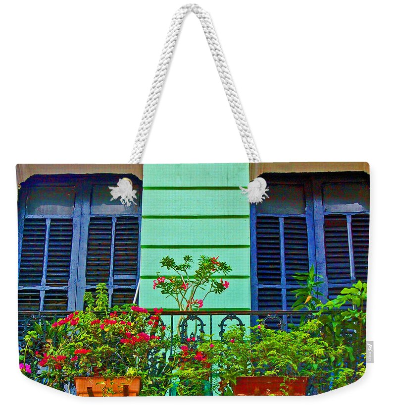 Garden Weekender Tote Bag featuring the photograph Garden Balcony by Debbi Granruth