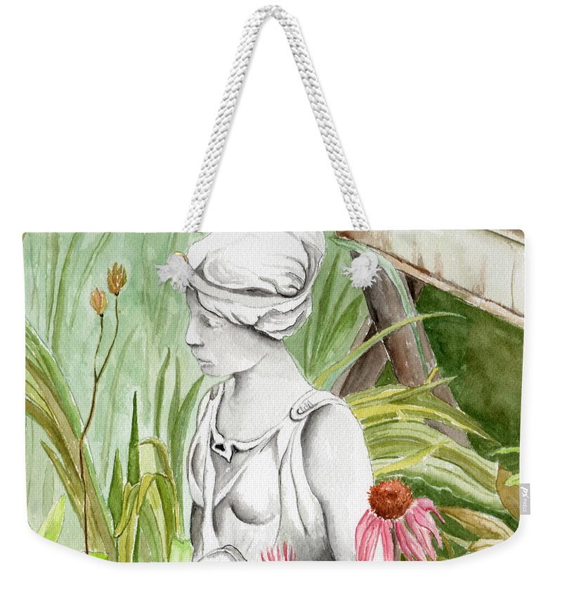 Watercolor Scenery Color Rural Garden Statue Woman Gardening Plants Flower Green Weekender Tote Bag featuring the painting Garden Beauty by Brenda Owen