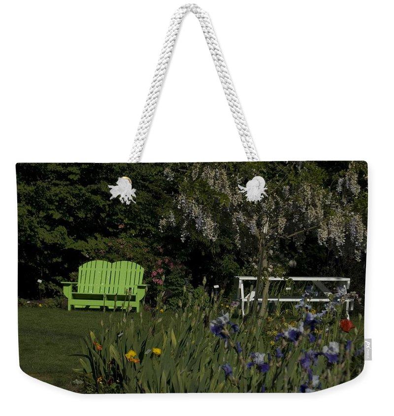Garden Weekender Tote Bag featuring the photograph Garden Bench Green by Sara Stevenson