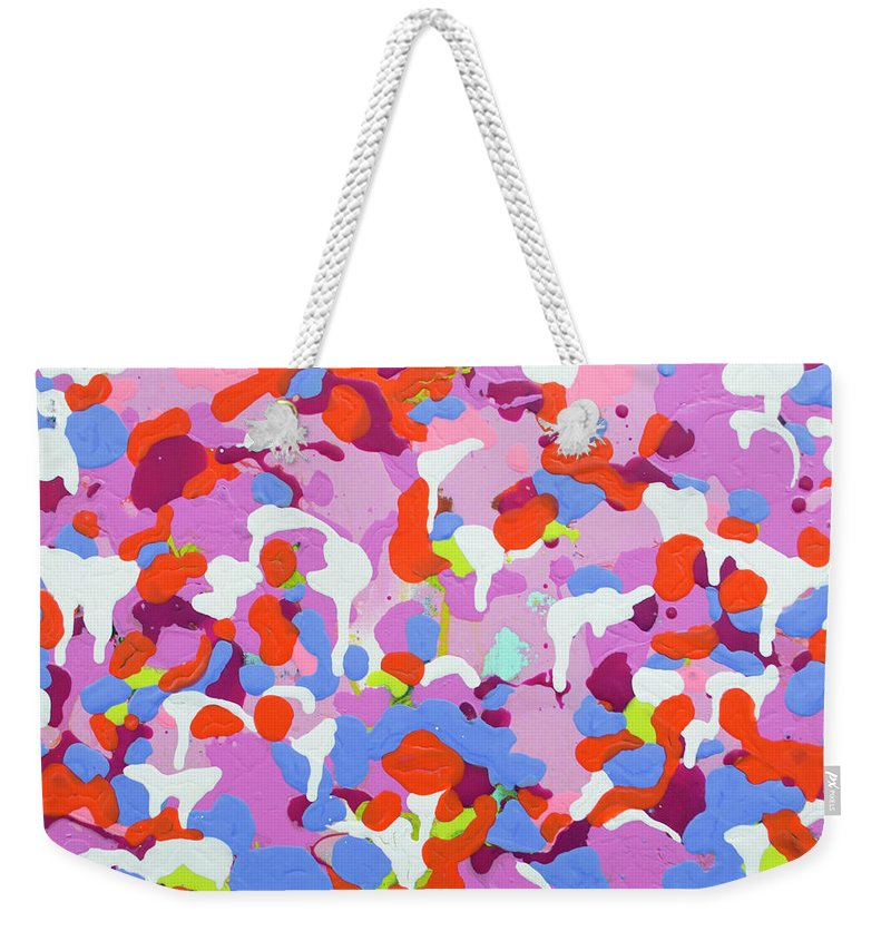 Abstract Weekender Tote Bag featuring the painting Garden Camo by Claire Desjardins