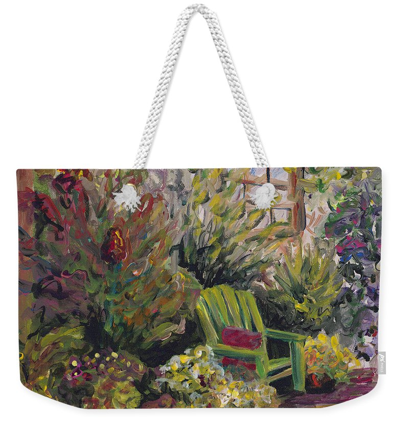 Green Weekender Tote Bag featuring the painting Garden Escape by Nadine Rippelmeyer