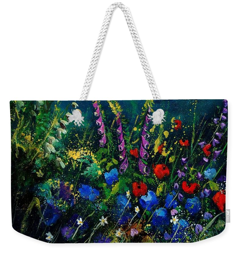 Flowers Weekender Tote Bag featuring the painting Garden Flowers 56 by Pol Ledent