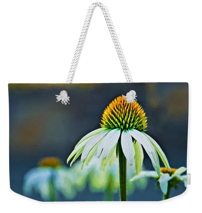 Gerbera Weekender Tote Bag featuring the photograph Bristle Flower by Maria Coulson