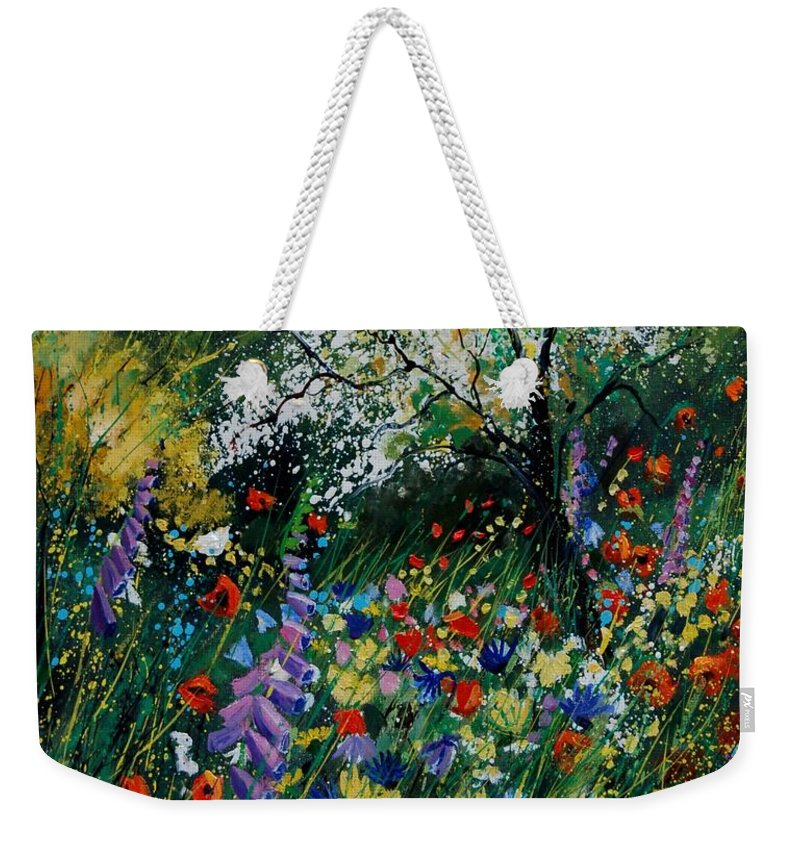 Flowers Weekender Tote Bag featuring the painting Garden Flowers by Pol Ledent