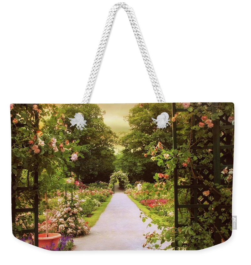 Spring Weekender Tote Bag featuring the photograph Garden Gate by Jessica Jenney
