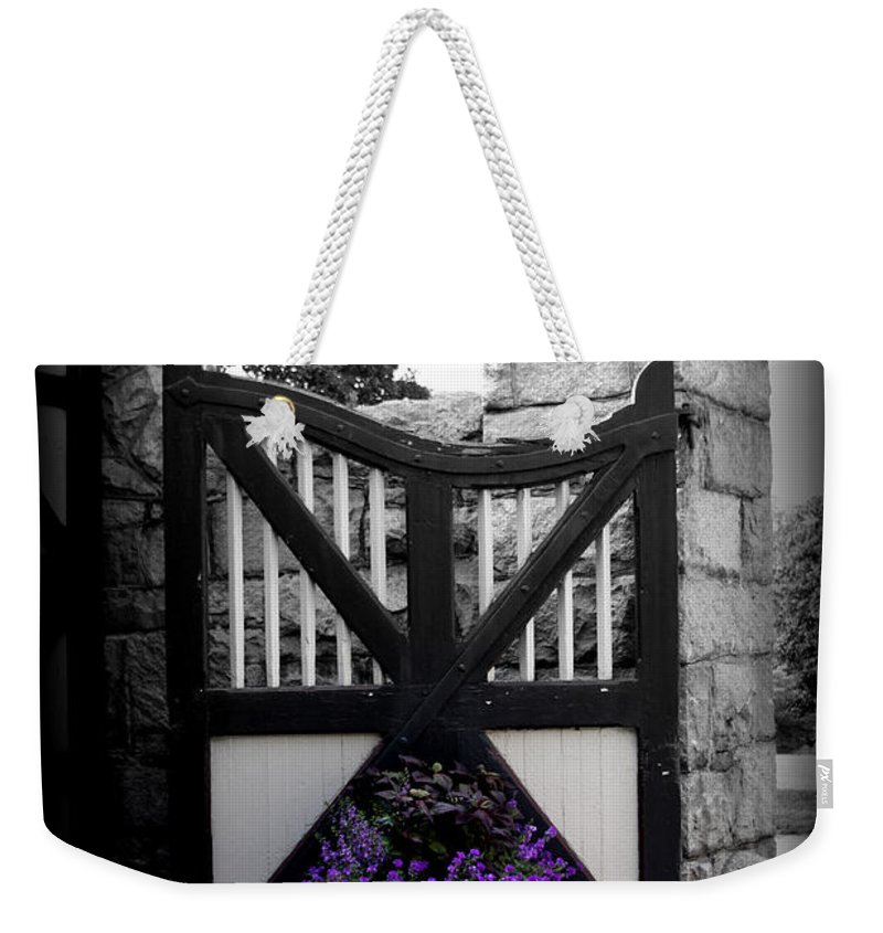 Gate Weekender Tote Bag featuring the photograph Garden Gate by Tina Meador