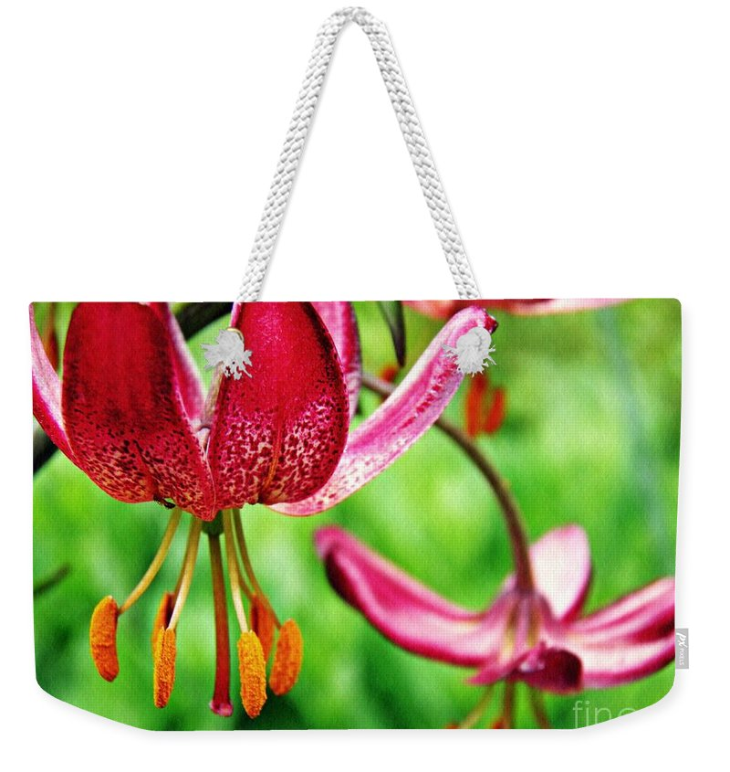 Lily Weekender Tote Bag featuring the photograph Garden Jewels 1 by Sarah Loft