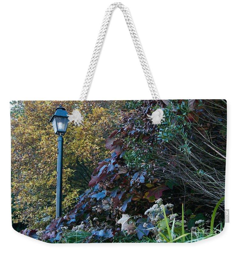 Garden Weekender Tote Bag featuring the photograph Garden Lamp Post by Lynn Chendorain