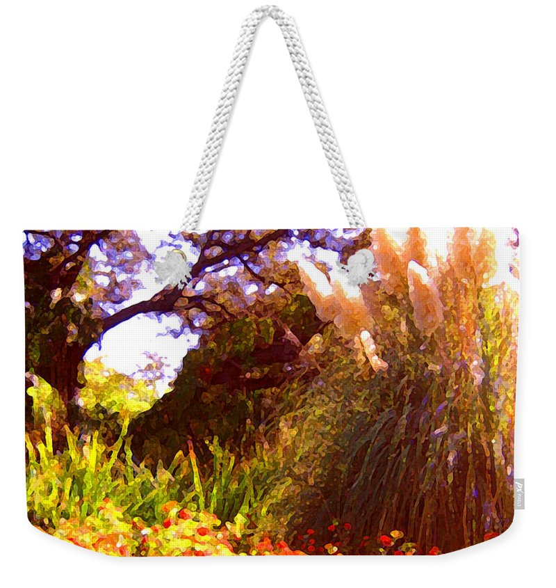 Landscapes Weekender Tote Bag featuring the painting Garden Landscape by Amy Vangsgard